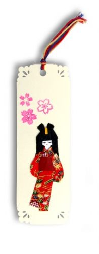 Bookmark, Gift Tag, Card topper Handmade – Sweet Geisha girl with Japanese washi paper